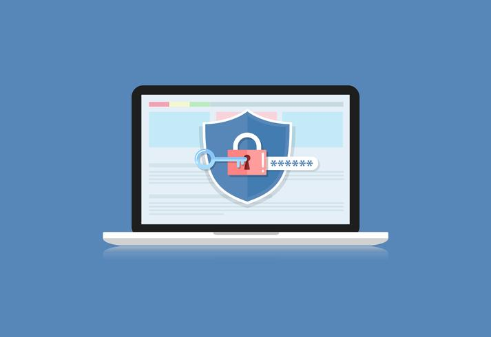 Concept is data security .Shield on Computer Laptop protect sensitive data. Internet security. Vector Illustration