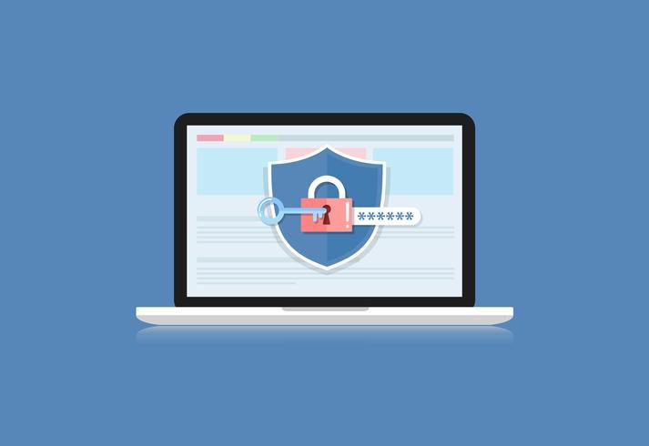 Conceito é segurança de dados. Escudo no computador Laptop proteger dados confidenciais. Segurança da Internet. Ilustração vetorial