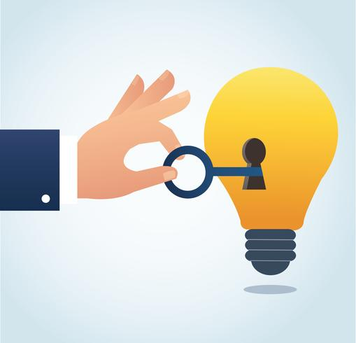 hand holding the big key with keyhole on the lightbulb, concept of creative thinking vector