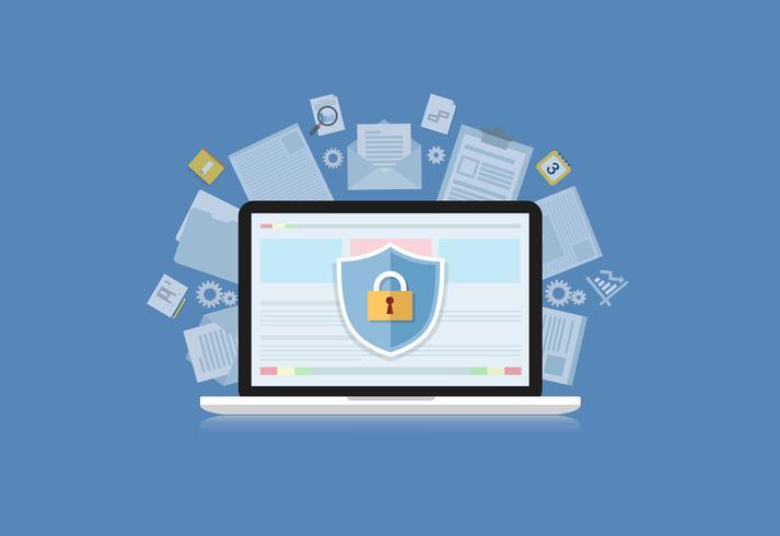 Concept is Data Security Center. Shield op Computer Laptop beschermt gevoelige gegevens. Internet beveiliging. Vector illustratie