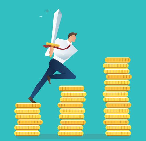 businessman holding sword on gold coins, concept of motivation for achievement vector illustration