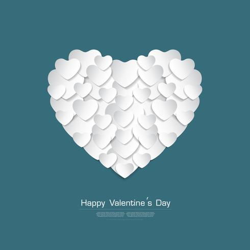 La cartolina d'auguri felice di San Valentino con il taglio della carta del cuore bianco stype su fondo verde, vettore Desgin
