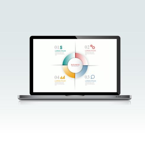 Computer laptop with infographic on screen,3d and flat vector design illustration for web banner or presentation used