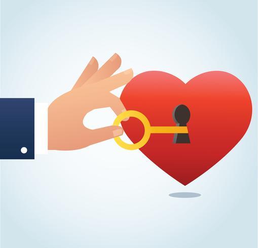 mano che tiene la grande chiave con il buco della serratura sul cuore rosso illustrazione vettoriale