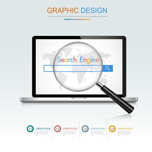 Ordenador portátil con concepto de motor de búsqueda en pantalla, ilustración de diseño de vector plano y 3d para banner web o presentación utilizada