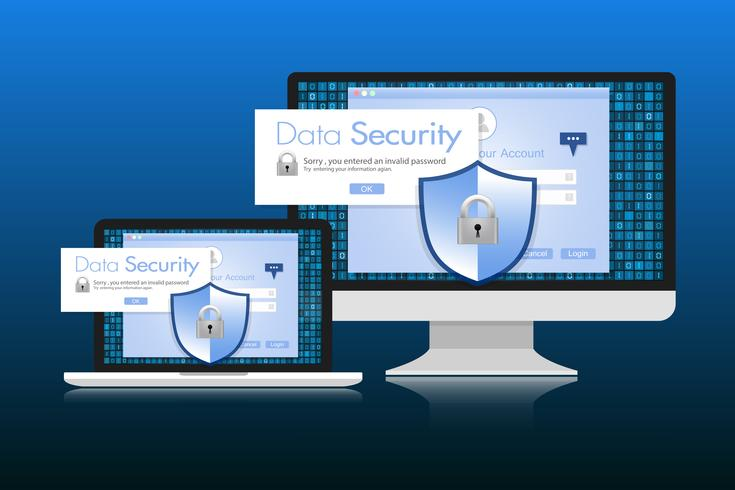 Concept is data security. Shield on Computer Desktop or Labtop protect sensitive data. Internet security. Vector Illustration.
