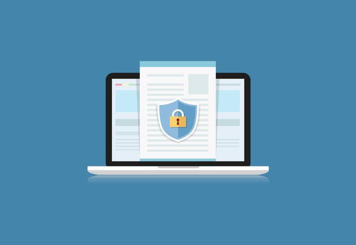 Concept is data security. Shield on Computer Desktop or Labtop protect sensitive data. Internet security. Vector Illustration