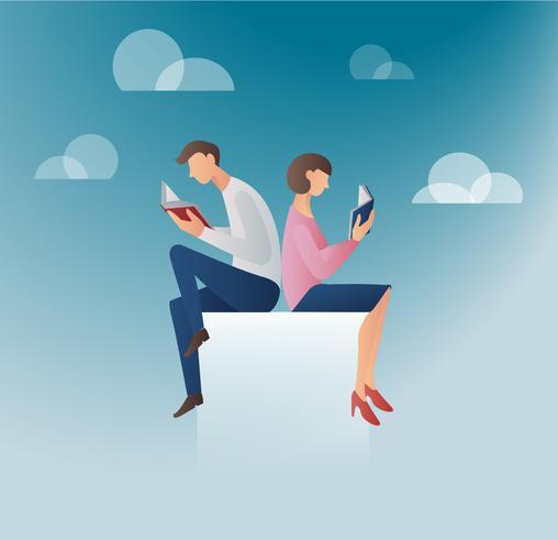l'uomo e la donna che leggono libri illustrazione vettoriale