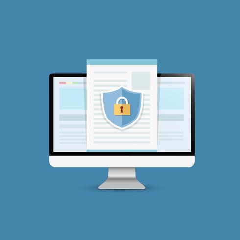 Conceito é segurança de dados Acesse .Shield on Computer Desktop proteja dados confidenciais. Segurança da Internet. Ilustração vetorial.