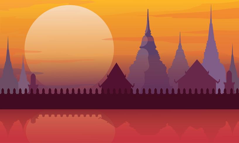 Tailândia templo paisagem arquitetura cartaz ilustração vetorial