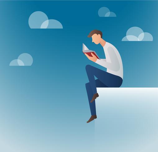 hombre leyendo libros vector illustration