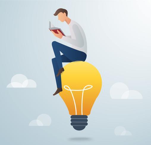 man läser bok sitter på glödlampa vektor illustration