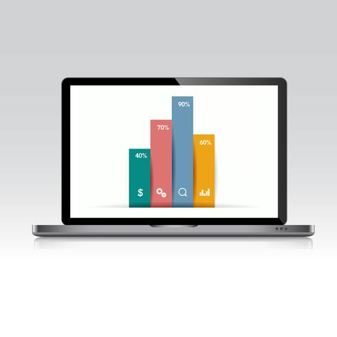 Computer laptop with business graph on screen,3d and flat vector design illustration for web banner or presentation used