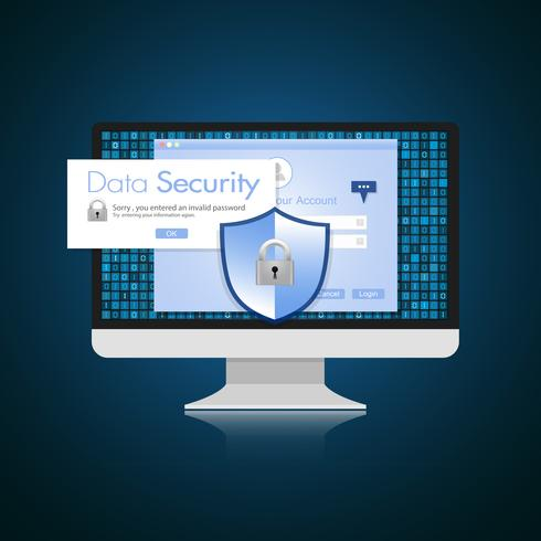 Concept is data security. Shield on computer protect sensitive data. Internet security. Vector Illustration.