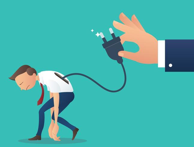 Personagem de desenho animado, empresário de baixa bateria com a mão segure a ficha eléctrica
