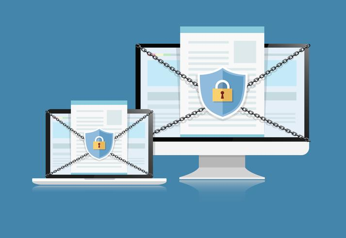 El concepto es la seguridad de los datos. Shield en Computer Desktop o Labtop protege datos confidenciales. Seguridad de Internet. Vector Illustration.or