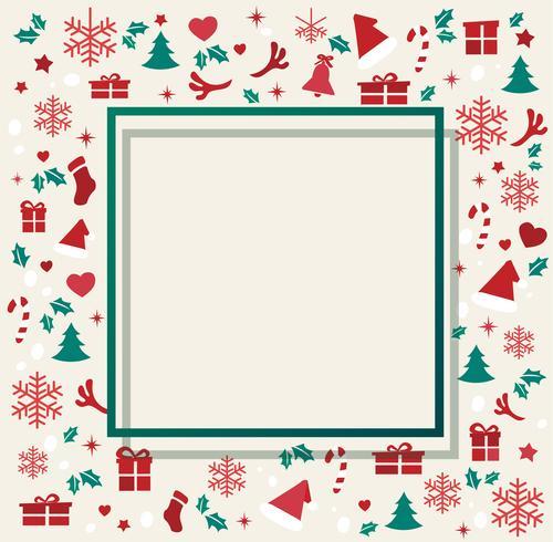 Elementos de Navidad con ilustración de vector de fondo de patrón de espacio