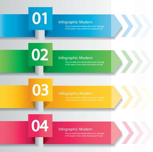 Concept d'infographie de flèche. Modèle vectoriel avec 4 options, pièces, étapes, boutons. Peut être utilisé pour le Web, diagramme, graphique, présentation, graphique, rapport, infographie étape par étape. Abstrait