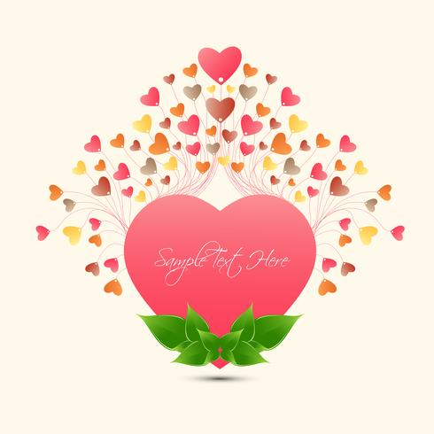Happy valentine\'s day love Greeting Card color full small heart grow from Big Heart, Vector Design