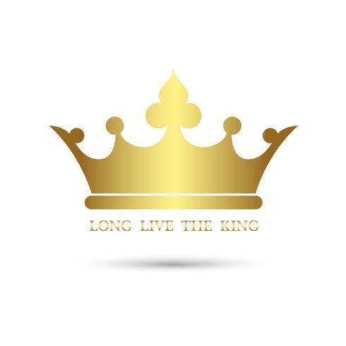 Crown symbol with Gold Color isolate on white background, vector illustration