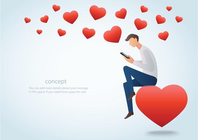 homem segurando um smartphone sentado no coração vermelho e muitos ilustração vetorial de coração