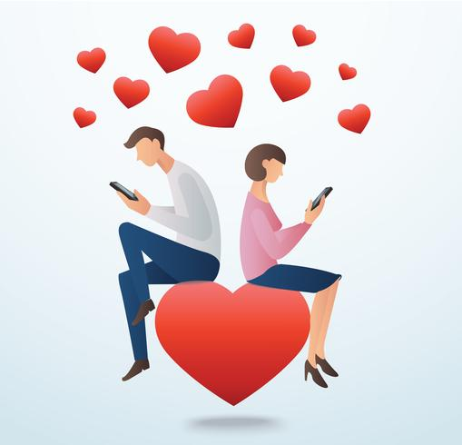 man and woman using smartphone and sitting on the red heart with many hearts, concept of love online
