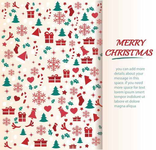 Tarjeta de felicitación de Navidad con ilustración de vector de fondo de patrón de espacio
