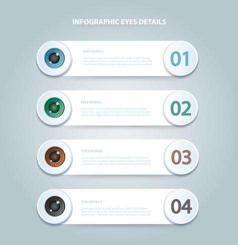 Color de ojos infográfico. Plantilla de vector con 4 opciones. Puede ser utilizado para web, diagrama, gráfico, presentación, gráfico, informe, infografía paso a paso. Fondo abstracto