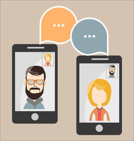 Modern vektor illustration av online chatt