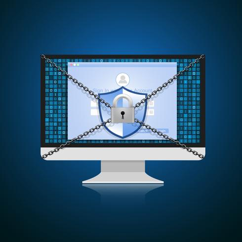 Concept is gegevensbeveiliging. Shield op computer beschermt gevoelige gegevens. Internet beveiliging. Vector illustratie.