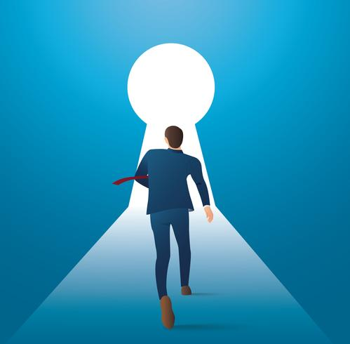 Ilustración de concepto de negocio infografía de un hombre de negocios caminando en el ojo de la cerradura con luz brillante