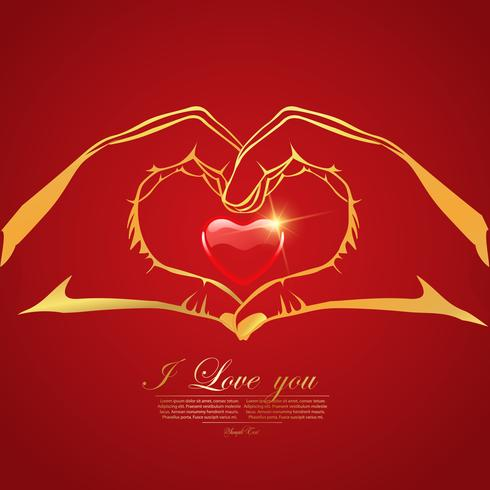Happy valentine's day love Greeting Card  With Red Heart in Hands on red  background, Vector Design