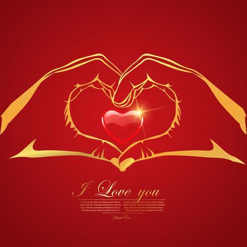 Cartolina d'auguri felice di amore di San Valentino con cuore rosso in mani su fondo rosso, progettazione di vettore