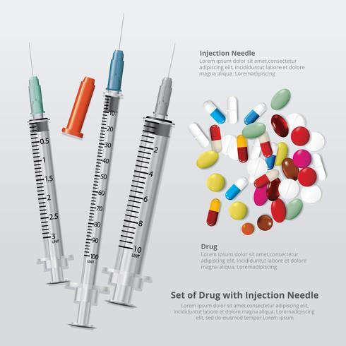 Conjunto de drogas com agulha de injeção realista ilustração vetorial vetor