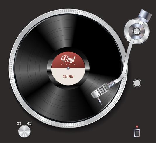 Turntable spelar vinyl vektor illustration