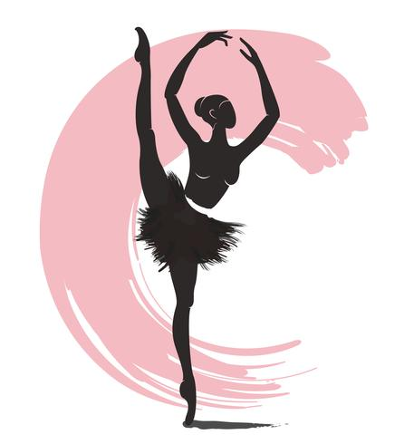 mujer bailarina, icono del logo de ballet para ballet escuela danza estudio vector illustration