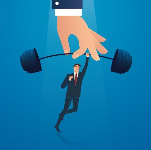 empresário de sucesso em pé com ilustração em vetor de levantamento de peso de mão grande