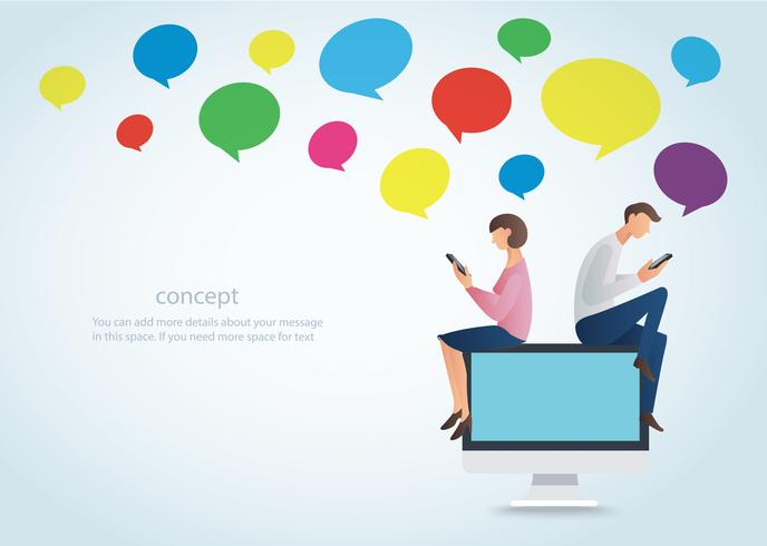 Hombre y mujer que usan un teléfono inteligente y se sientan en la computadora con el cuadro de chat colorido, el concepto de amor en línea vector