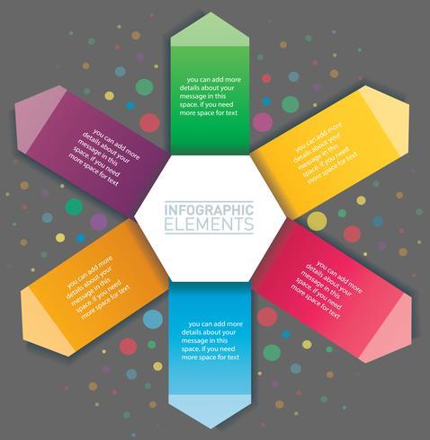Infografía de flecha y hexágono. Plantilla de vector con 6 opciones. Puede ser utilizado para web, diagrama, gráfico, presentación, gráfico, informe, infografía paso a paso. Fondo abstracto