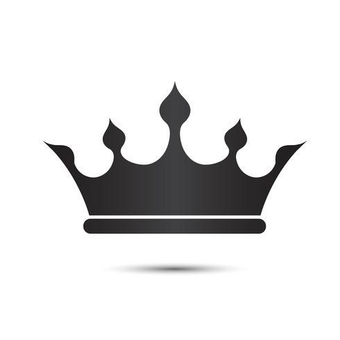 Simbolo della corona con l'isolato di colore nero su fondo bianco, illustrazione di vettore