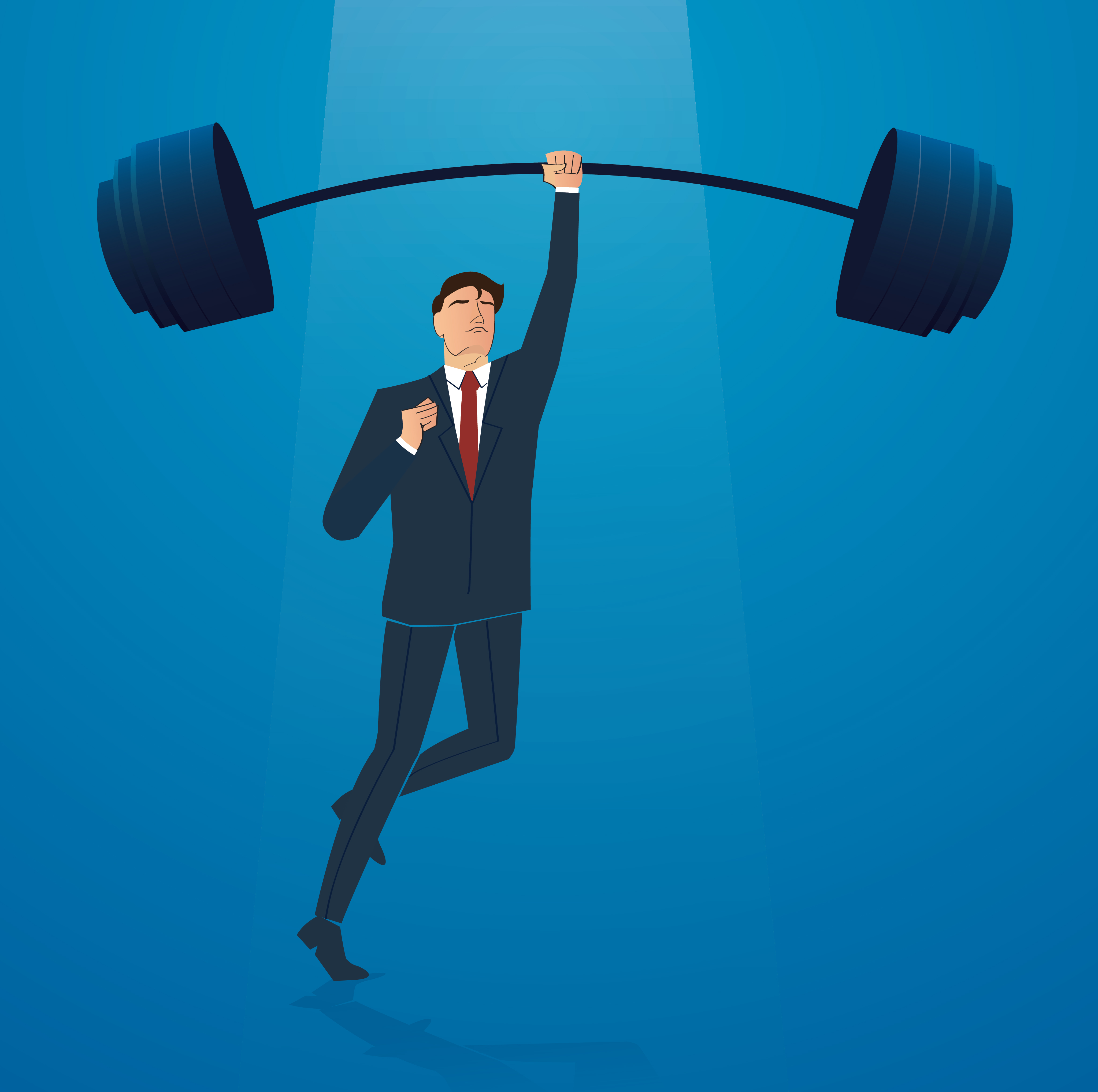 successful businessman weight lifting vector illustration ...