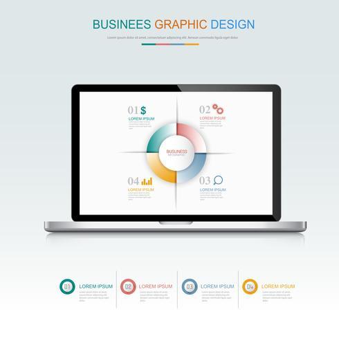 Il computer portatile del computer con l'affare infographic sullo schermo, 3d e l'illustrazione piana di progettazione di vettore per l'insegna o la presentazione di web hanno usato