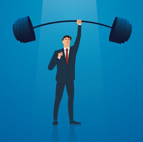 illustrazione vettoriale di sollevamento pesi di successo uomo d'affari