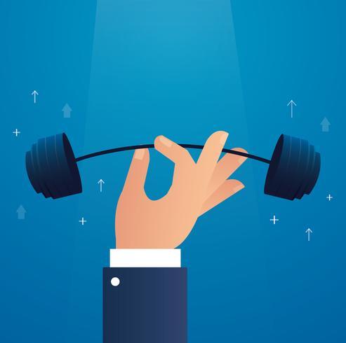 mano grande ilustración de vector de levantamiento de pesas