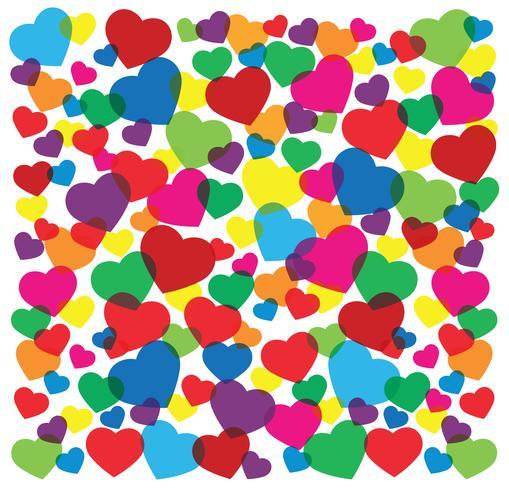 Ilustración de vector de fondo de corazones de colores