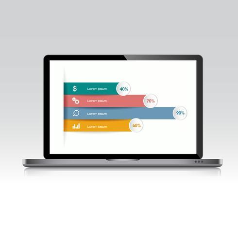 Computerlaptop mit Geschäftsdiagramm auf Schirm, 3d und flachem Vektor entwerfen Illustration für die verwendete Netzfahne oder -darstellung