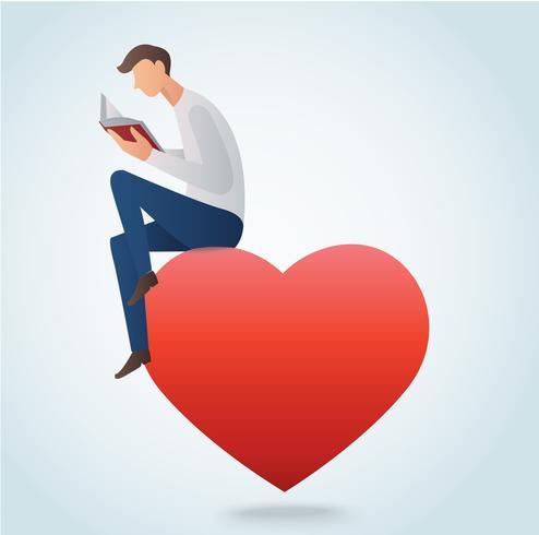 livre de lecture de l'homme et assis sur l'illustration vectorielle coeur rouge