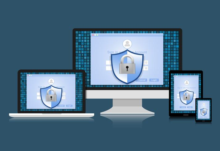 El concepto es la seguridad de los datos. El escudo en la computadora, la computadora portátil, la tableta y el teléfono inteligente protegen los datos confidenciales. Seguridad de Internet. Ilustracion vectorial