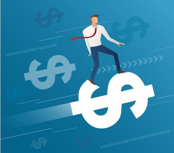 hombre de negocios paseo en icono de dólar y fondo azul, vector de ilustración de concepto de negocio