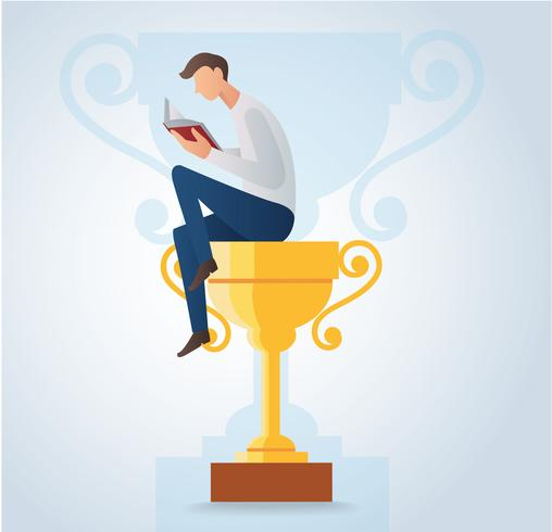 man reading book and sitting on the gold trophy vector illustration